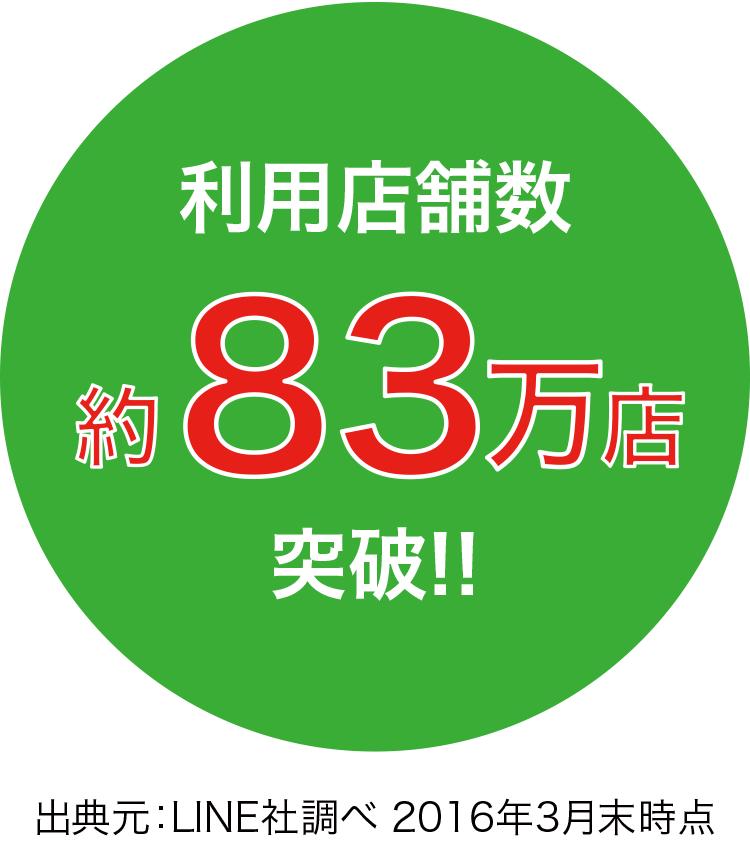 利用店舗数 約83万店突破!!